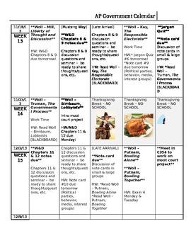 Semester Calendar for AP US Government and Politics
