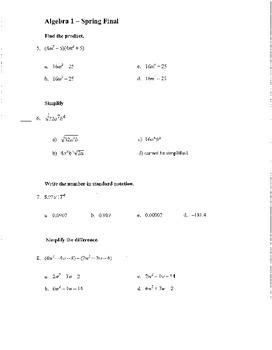 Semester Exam for Regular Algebra 1