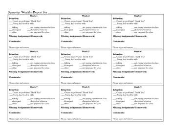 Semester Long Weekly Behavior Report