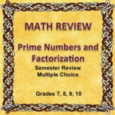 Digital Math Semester Review Game, Prime Numbers and Factorization, Editable