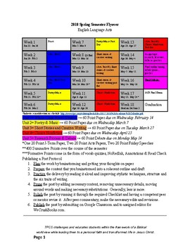 Semester Planner Template on One Page (Color-Coded)