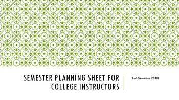 Semester Planner for College Instructors