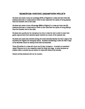 Semester Testing Exemption Policy