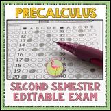 Semester Two Exam Fully-Editable (PreCalculus Honors)