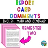 End of Year Report Card Comments - Editable