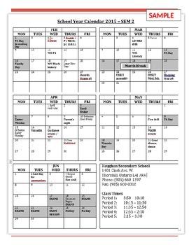 Semester at a glance 10 month customizable calendar