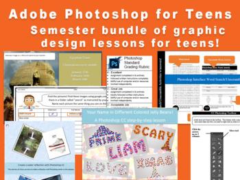 Semester bundle of Photoshop lesson plans for teens.  School site license