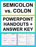 Semicolon Colon Usage Activities - Worksheets, Powerpoint & Answer Key