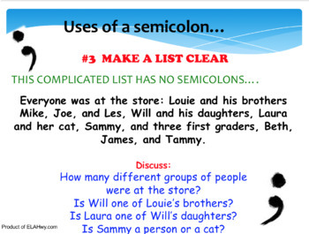 Semicolon PowerPoint: Practice questions throughout, key at end, fun!