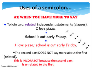Semicolon PowerPoint Presentation with Worksheet