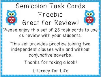 Semicolon Task Card Freebie