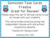 Semicolon Task Card Freebie