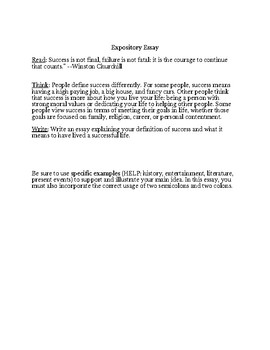 Semicolon and Colon test with STAAR Expository Essay