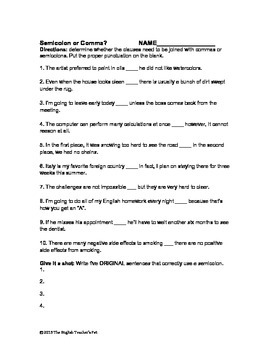 Semicolon or Comma Worksheet and Answer Key