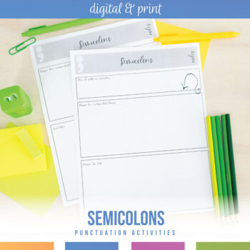 Semicolons Activities, Exit Tickets, and Powerpoint - editable
