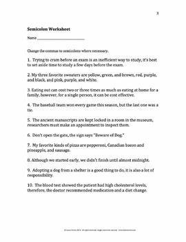 Semicolons Rules, Examples, Worksheet, Quiz, and Keys