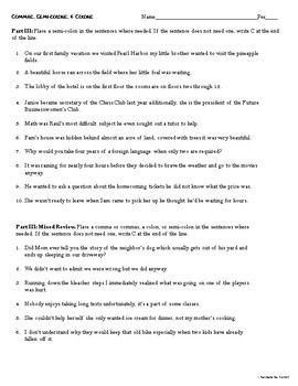 Semicolons, Commas, and Colons Review Worksheets & Quiz