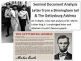 Seminal Document Analysis (Letter from a Birmingham Jail, Gettysburg Address)
