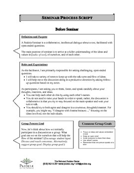 Seminar Process Tools- Facilitator Script