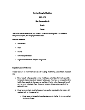 Seminar/Study Hall Syllabus