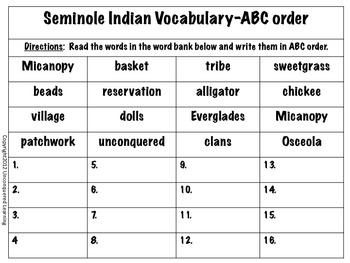 Seminole Indian Vocabulary-ABC Order