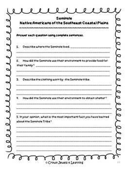 Seminoles:  Native Americans of the SE Coastal Plains - Inf. Reading & Writing