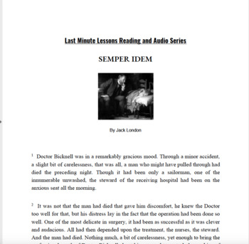 Semper Idem by Jack London - Last Minute Lessons Reading and Audio Series