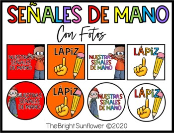 Señales de Mano con fotos / Hand Signals with pictures in Spanish