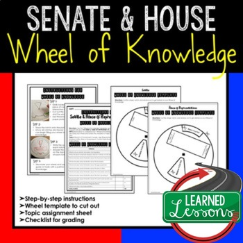 Senate and House of Representatives Wheel of Knowledge Interactive Notebook Page