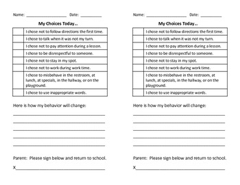 Send-Home Behavior Note to Parents