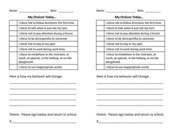 Send-Home Behavior Note to Parents