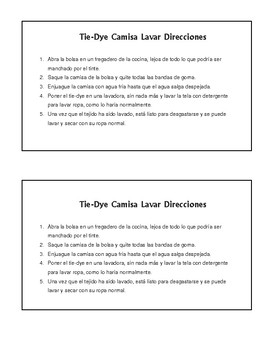 Send-Home Instructions for Tie-Dye Aftercare