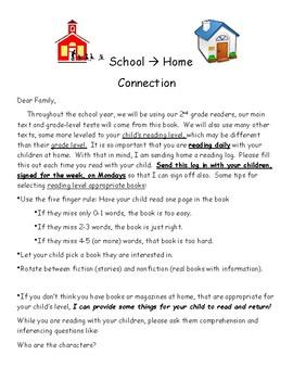Send Home Parent Reading Log