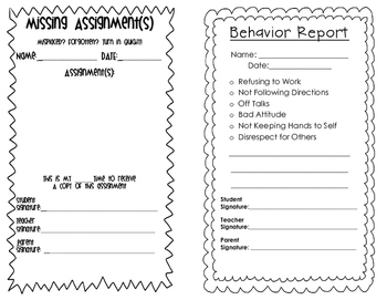 Send Home Reports for Behavior and Missing Assignments