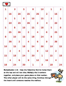 Send My Valentines - Multiplication Math Games