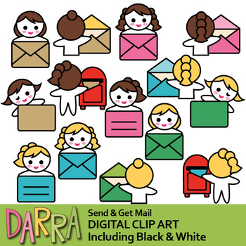 Send and get mail clip art (girl, envelope, mail box clipart)