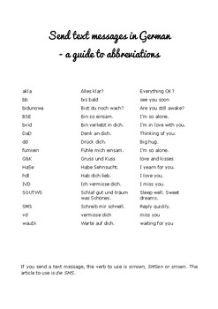 Send text messages in German - a guide to abbreviations