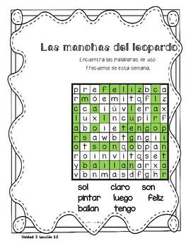 Senderos 1st Grade Unit 3 Sopa de letras, Word Search