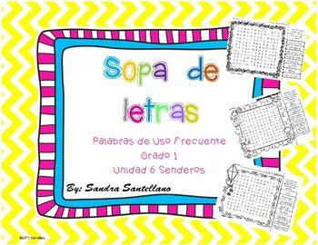 Senderos 1st Grade Unit 6 Sopa de letras, Word Search