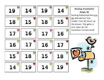 Sending Valentines - Take Away Math Games