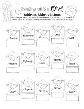 Sending all My Love - Address Abbreviation Matching Worksheet
