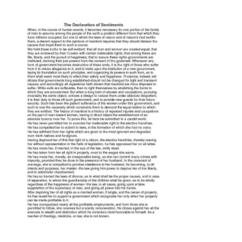 Seneca Falls Convention - Declaration of Sentiments Lesson Plan