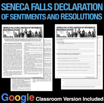 Seneca Falls Rights Declaration of Sentiments and Resolutions Primary Source