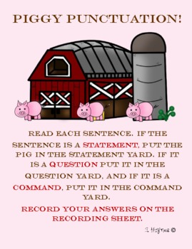 Senetnce Types Statement Command or Question 2nd grade farm themed