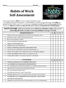Habits of Work Self-Assessment Lesson
