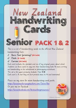 Senior Handwriting Card Pack 1 & 2 Bundle (New Zealand Font)