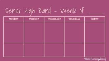 Senior High Band Weekly Plan