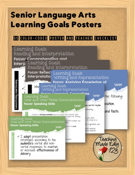 Senior Language Arts Learning Goals Posters
