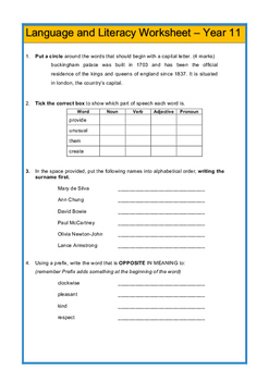 Senior Language and Literacy Worksheet
