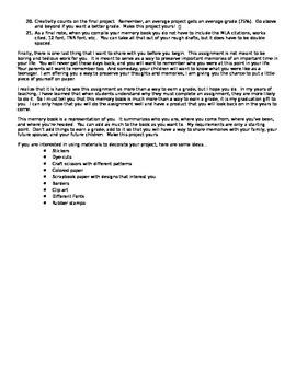 Senior Memory Book Writing Project